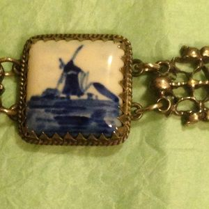 Signed Delft Blue White Tile Bracelet
